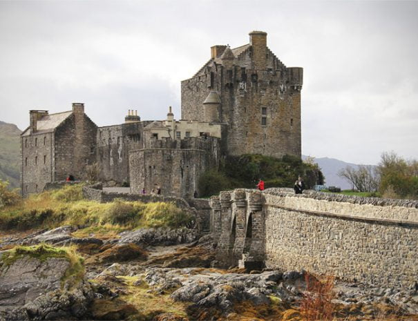 Eilean Donan Castle, view of the castle, bridge and moat