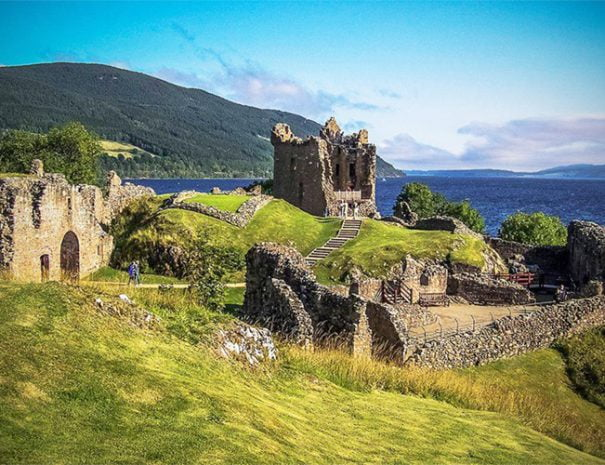 Urquhart Castle, view of ruins, Loch Ness lake in the background