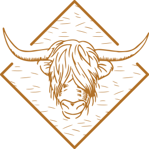 Craigmonie B&B logo, cow sign